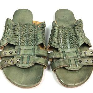 Bed Stu Diaz slip on green leather sandals Size 8